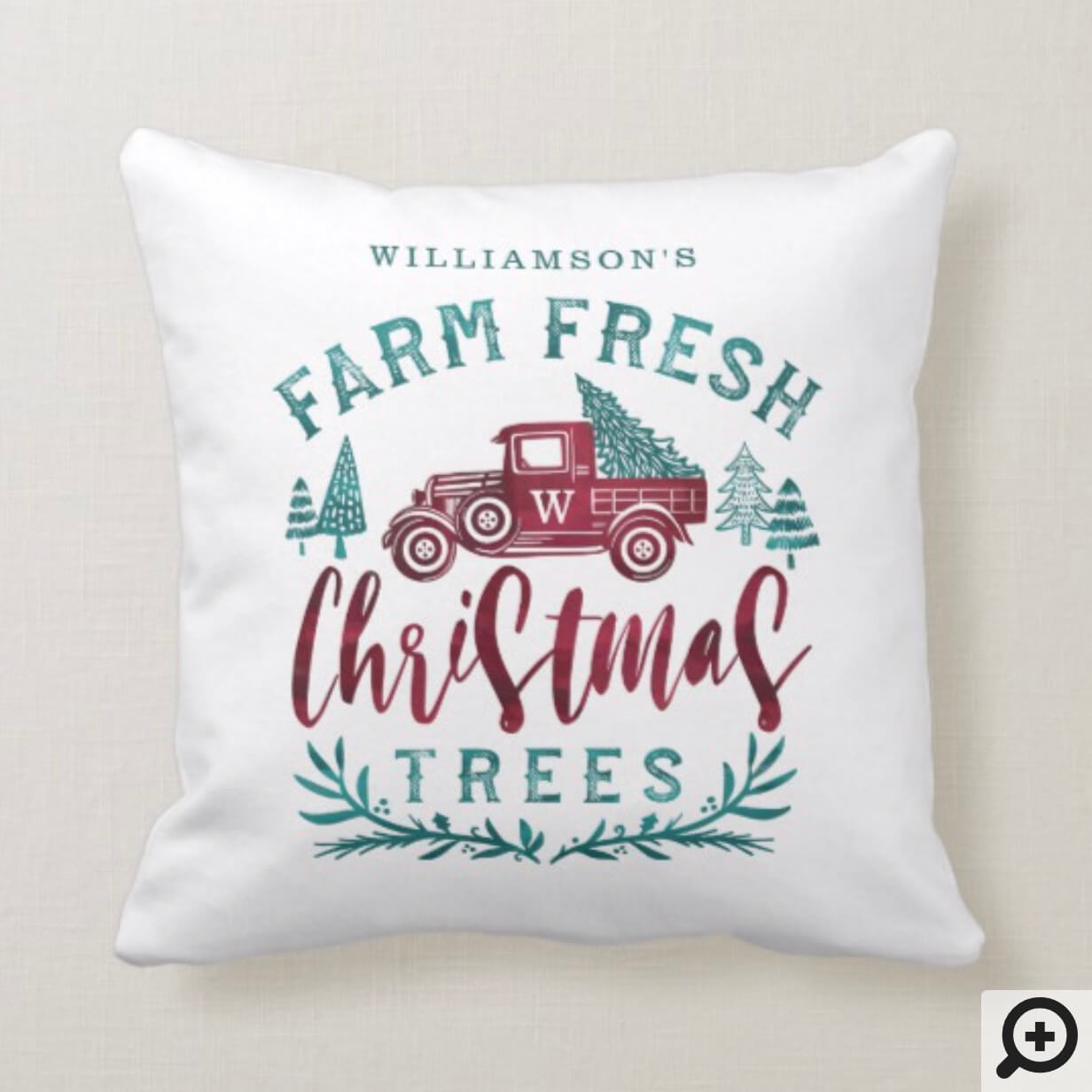 Farm Fresh Old Red Truck Christmas Tree Delivery Throw Pillow Moodthology Papery
