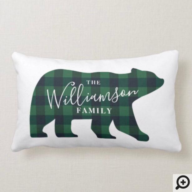 Forest Green Buffalo Plaid Bear Family Christmas Lumbar Pillow