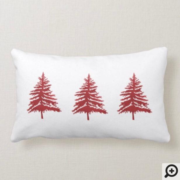 Red & White Christmas Tree & Stripe Christmas Lumbar Pillow