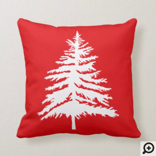 Red & White Christmas Tree & Polka Dot Christmas Throw Pillow