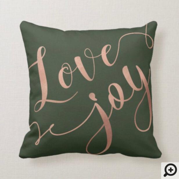 Love & Joy Script | Gold & Hunter Green Christmas Throw Pillow