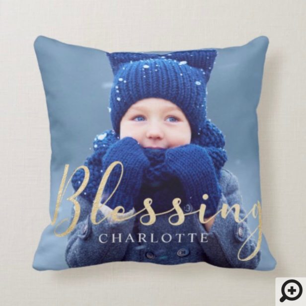 Blessing | Full Photo Layout Christmas Mongoram Throw Pillow