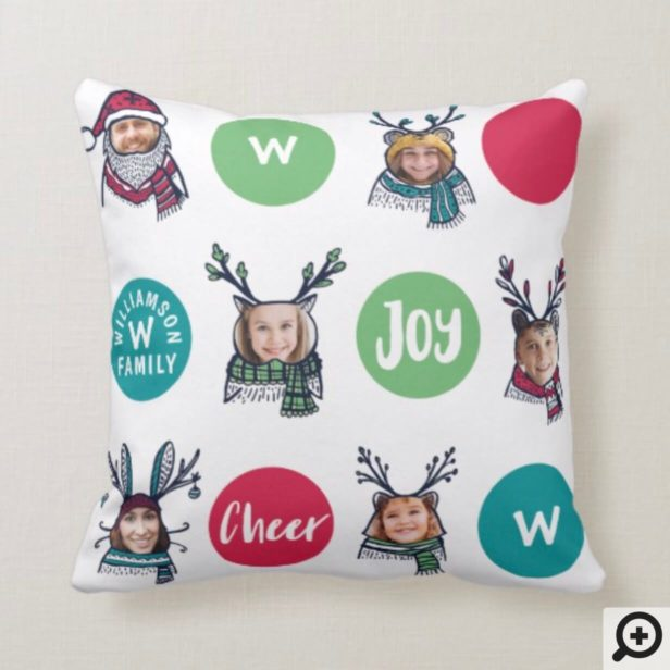 Polk Dot Animal Family Monogram Christmas Photos Throw Pillow