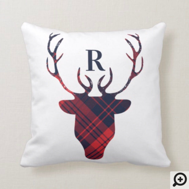 Red & Navy Plaid Reindeer Head Monogram Christmas Throw Pillow
