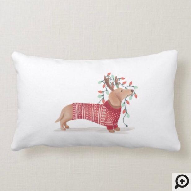 Merry & Bright | Dachshund Dog Christmas Sweater Lumbar Pillow