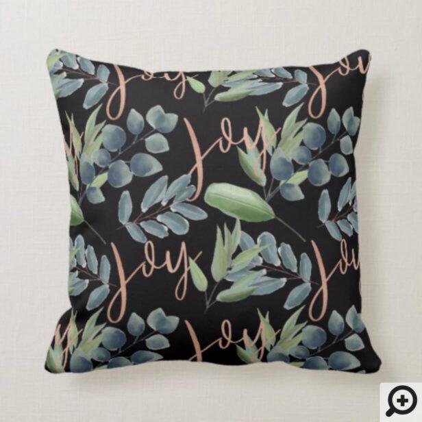 Joy Script Green Sage Floral Foliage Christmas Throw Pillow