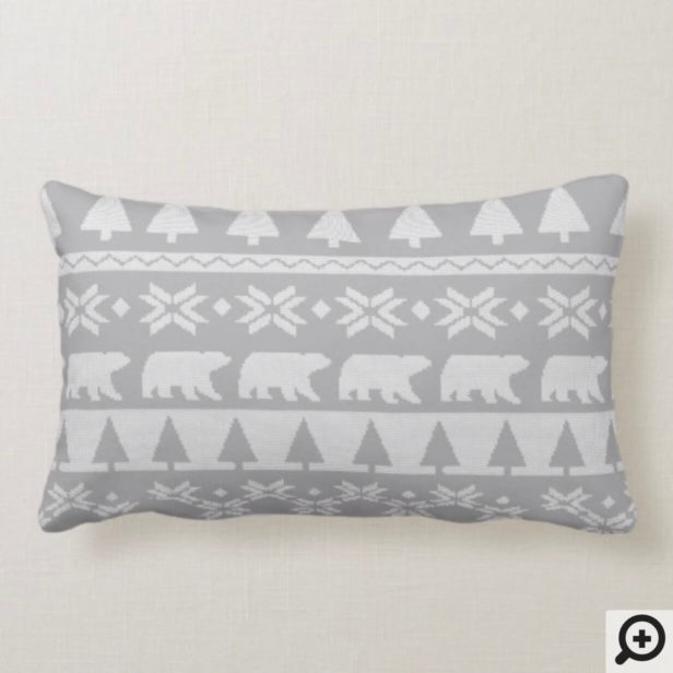 Grey White Cozy Knitted Sweater Christmas Pattern Lumbar Pillow