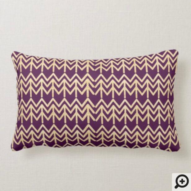Burgundy Wine & Gold Abstract Pine Tree Christmas Lumbar Pillow