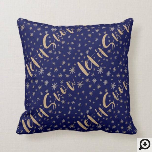 Let It Snow | Navy & Gold Starry Night Chrismas Throw Pillow