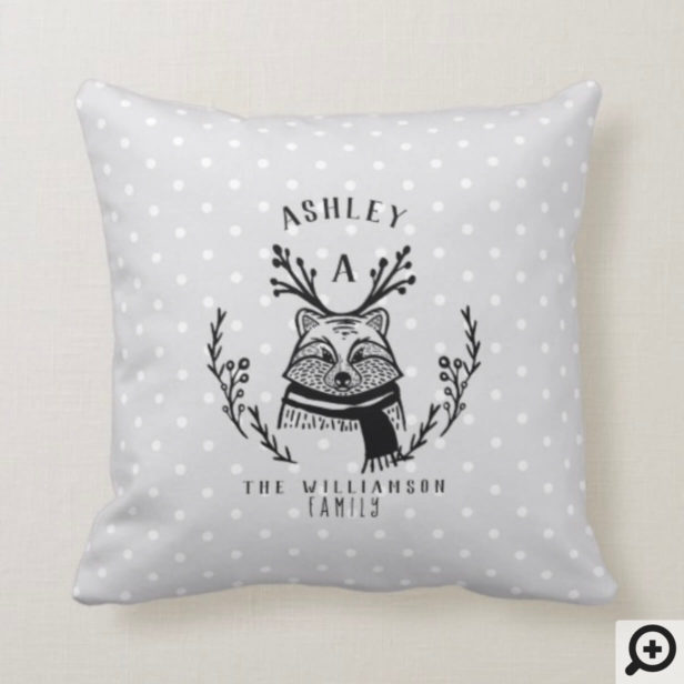 Festive Holiday Racoon Etching Family Monogram Throw Pillow