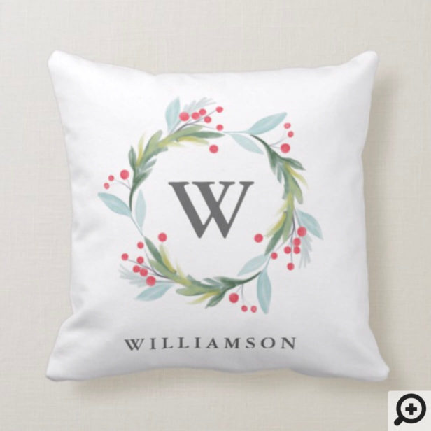 Festive Holly Watercolor Foliage Wreath & Monogram Throw Pillow