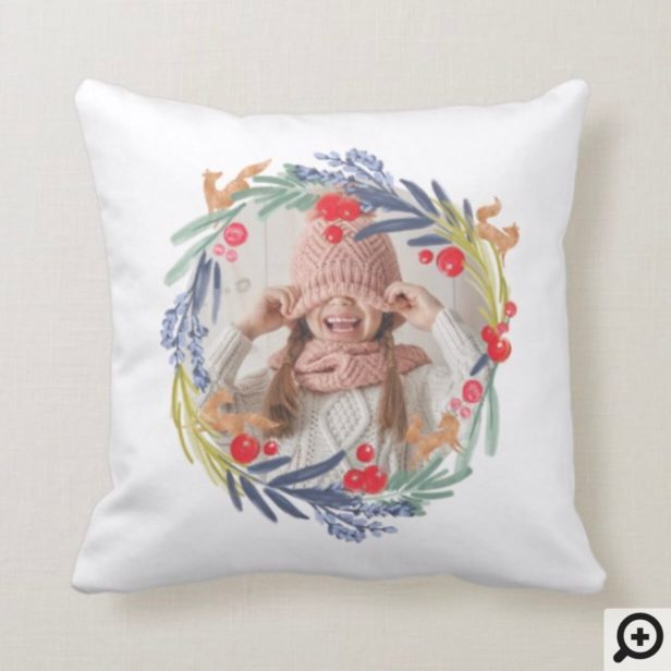 We Love You Mom | Watercolor foliage Wreath Photos Throw Pillow