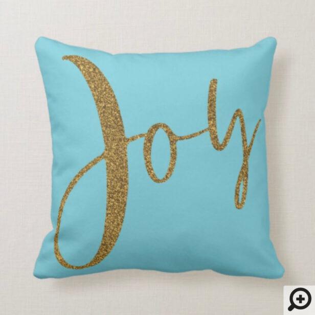 Joy | Minimalistic Gold Typographic Christmas Throw Pillow