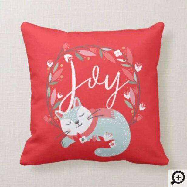 Joy | Cute Sleeping Cat & Leaf Foliage Wreath Throw Pillow