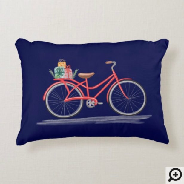 Red Vintage Bike Christmas Present Delivery Accent Pillow