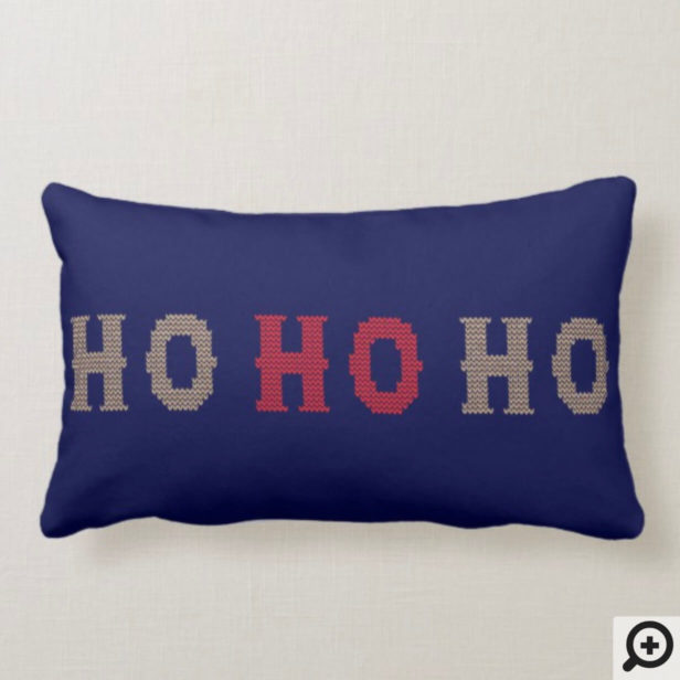 HO HO HO Knitted Sweater Typographic Christmas Lumbar Pillow