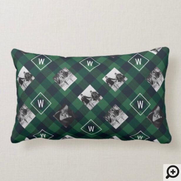 Green Buffalo Plaid | Monogram & Photos Christmas Lumbar Pillow