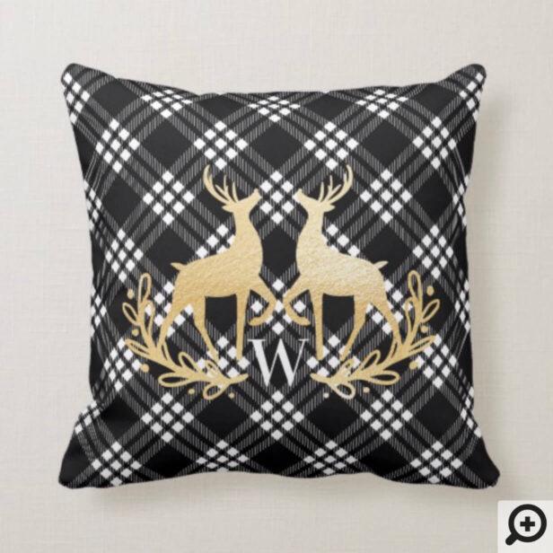 Black & White Plaid Gold Reindeer Wreath Monogram Throw Pillow