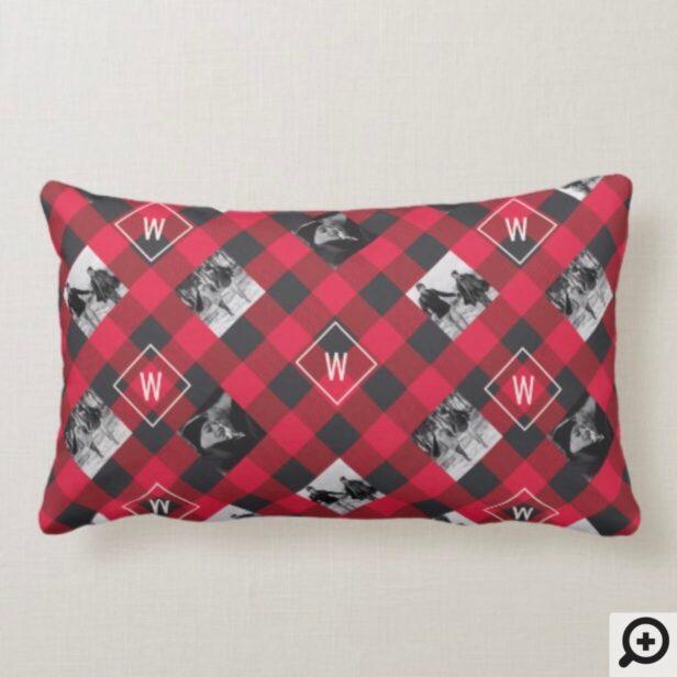 Red Buffalo Plaid | Monogram & Photos Christmas Lumbar Pillow