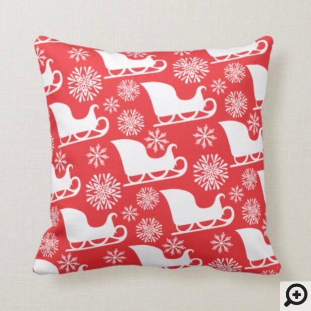 Red & White Winter Snowflake & Santa's Sleigh Throw Pillow