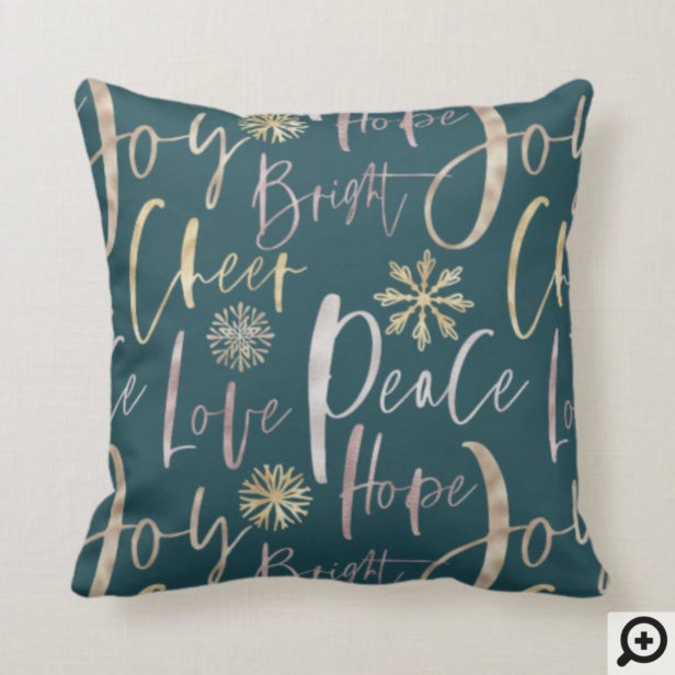 Holiday Cheer Shinny Script Typographic Christmas Throw Pillow