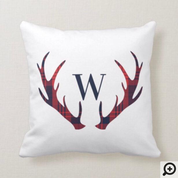 Red Navy Lumberjack Plaid Monogram Reindeer Antler Throw Pillow