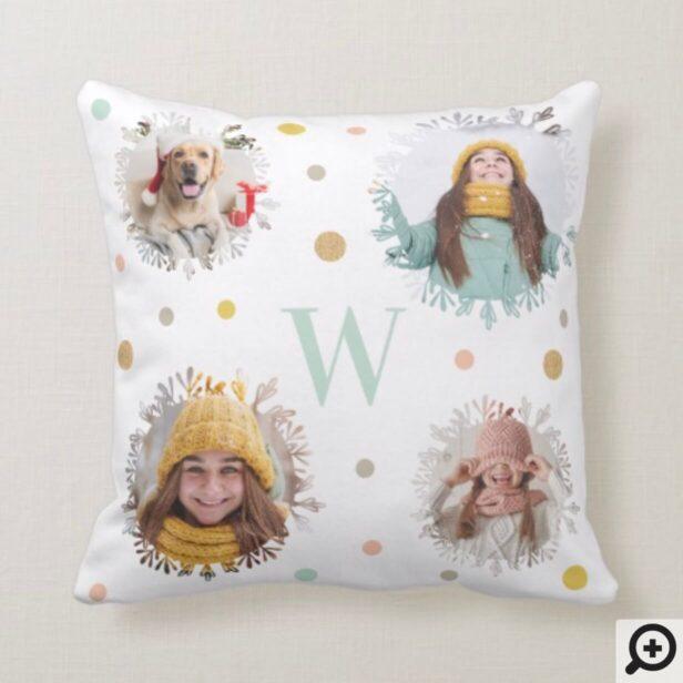 Polka Dots & Snowflake | Monogram Christmas Photos Throw Pillow