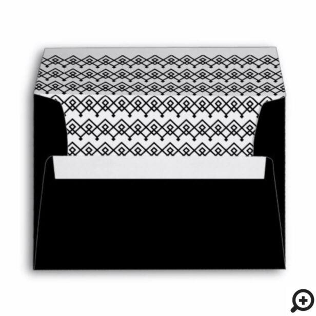 Black & White Stylish, Trendy Geometric Pattern Envelope