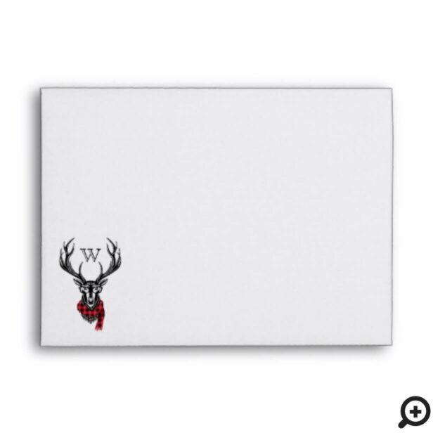 Cozy & Warm | Red Buffalo Plaid Reindeer Monogram Envelope