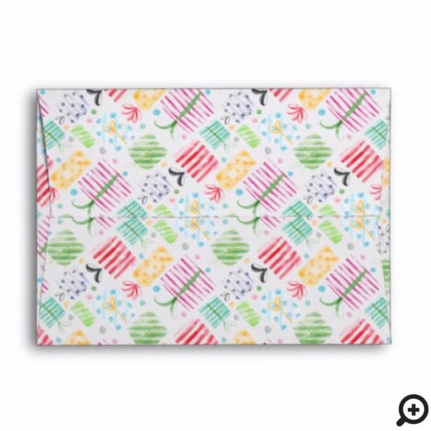 Colourful Watercolor Holiday Presents Christmas Envelope