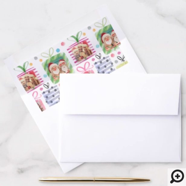 Colourful Watercolor Presents Christmas Photo Envelope Liner