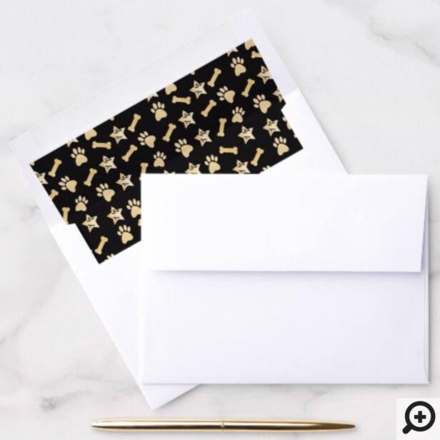 Elegant Black & Gold Pet Prints, Dog Bone & Stars Envelope Liner