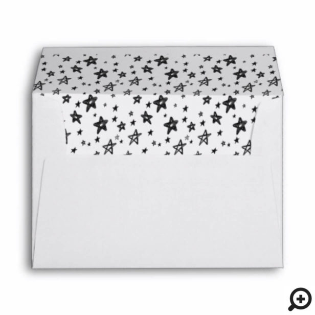 Starry Night Black Watercolor Stars & Monogram Envelope