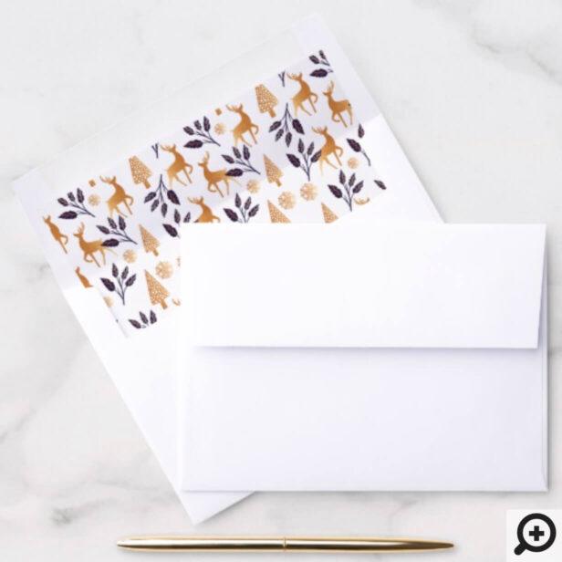 Elegant Reindeer, Snowflake & Christmas Pattern Envelope Liner