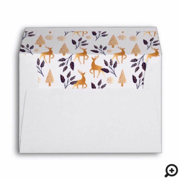 Elegant Reindeer, Snowflake & Christmas Pattern Envelope