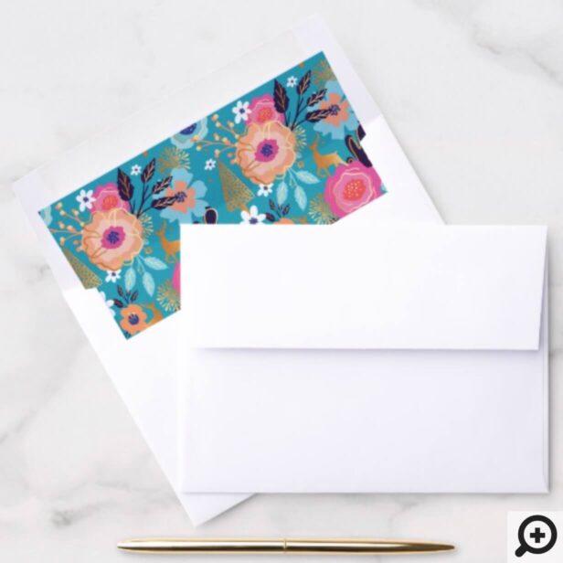 Vintage Florals, Reindeer & Snowflake Pattern Envelope Liner