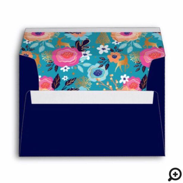 Vintage Florals, Reindeer & Snowflake Pattern Envelope