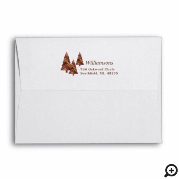 Rustic Woodgrain Geometric Pine Tree Forest Family Envelope