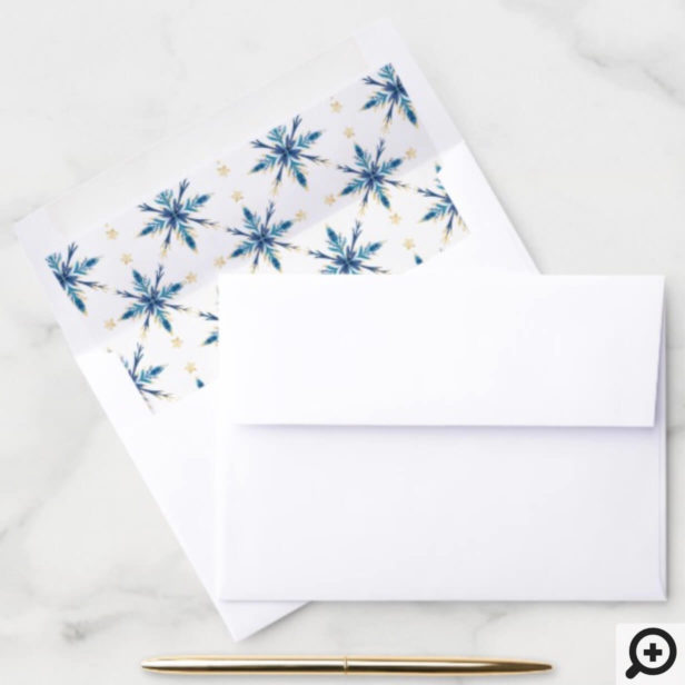 Wintry Frosty Blue Snowflakes & Gold Star Pattern Envelope Liner