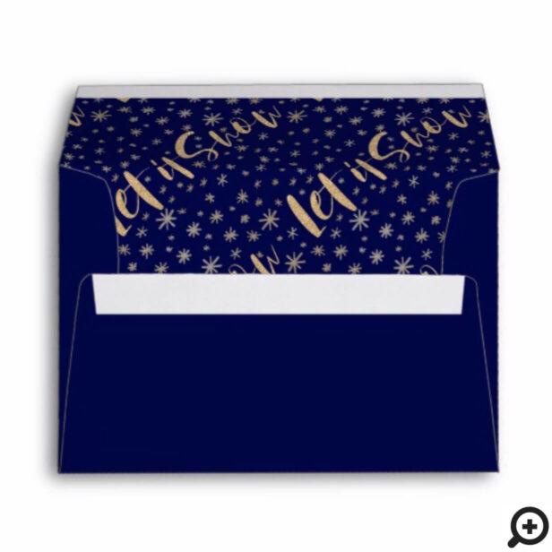 Let It Snow | Navy & Gold Starry Night Chrismas Envelope