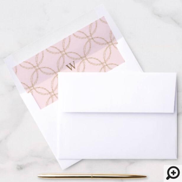 Gold Dust Confetti Circular Geometrical Pattern Envelope Liner