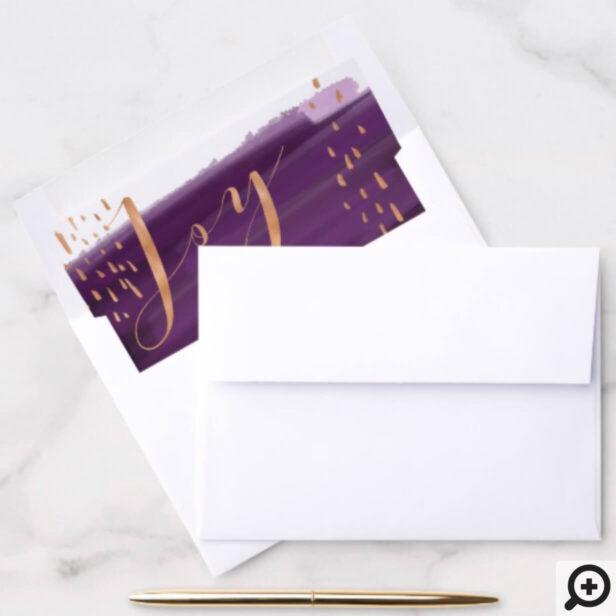 Joy | Purple Watercolor Ombre Wash Snowflakes Envelope Liner