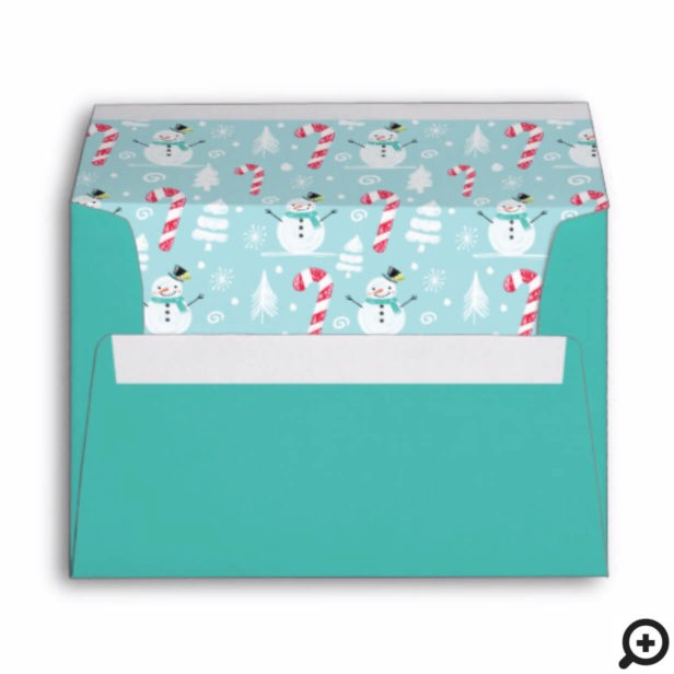 Fun Christmas Holiday Jolly Snow Man & Candy Cane Envelope
