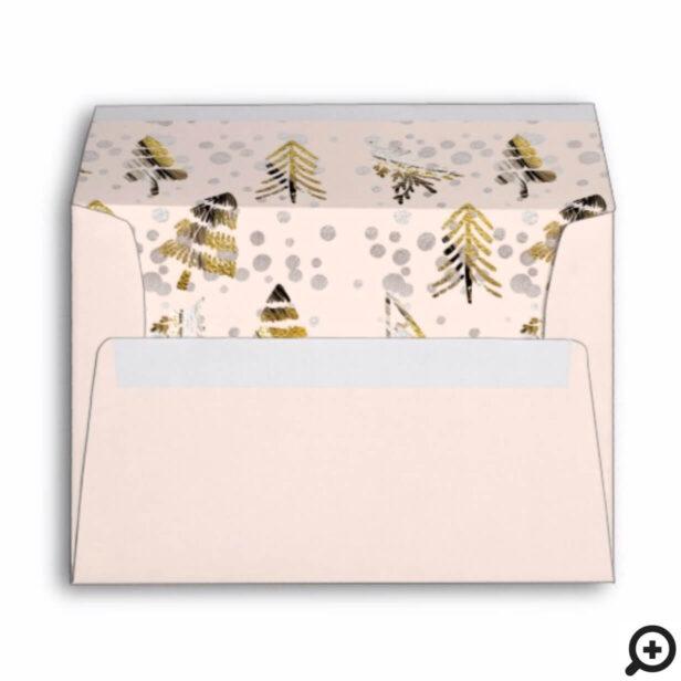 Holiday Family Blush & Gold Metallic Pine Trees Envelope