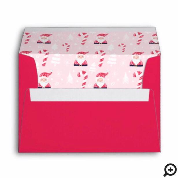 Fun Christmas Holiday Santa Claus & Candy Cane Envelope