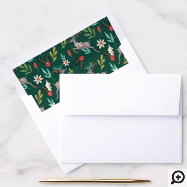 Reindeer Festive Florals, Greenery Holiday Pattern Envelope Liner