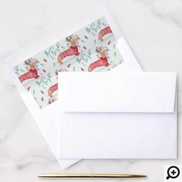 Merry Christmas | Dachshund Dog Christmas Sweater Envelope Liner
