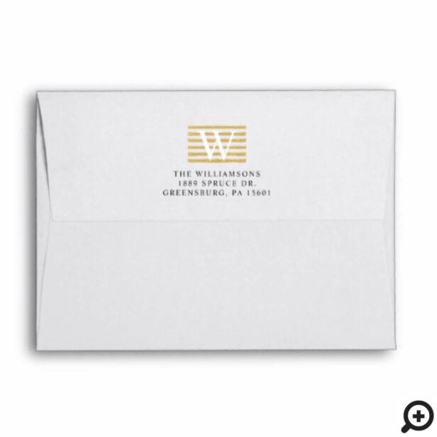 Chic & Trendy Gold Stripe Pattern Family Monogram Envelope