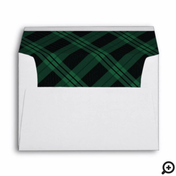 Let It Snow | Forest Green Plaid Christmas Envelope