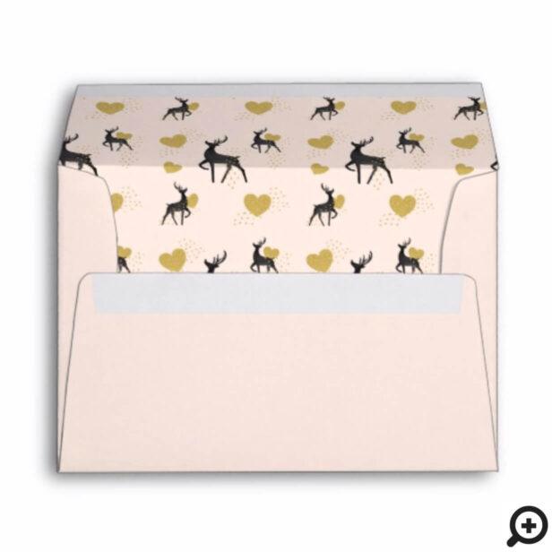Gold & Black Reindeer & Hearts Confetti Pattern Envelope